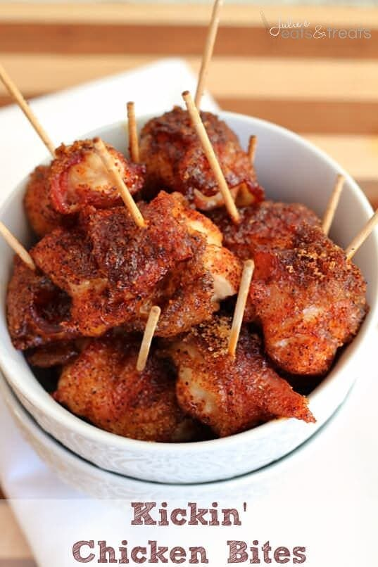 Kickin' Chicken Bites ~ Bite sized pieces of chicken wrapped in bacon and dusted in brown sugar & cayenne pepper!