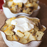 Cheeseburger Soup ~ Loaded with potatoes, hamburger, cheese and sour cream!