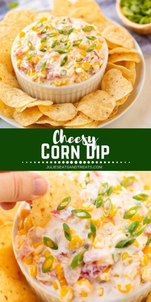 Collage with top image of cheesy corn dip in a bowl surrounded by chips, middle green banner with white text reading cheesy corn dip, and bottom image of a hand dipping a tortilla chip into cheesy corn dip