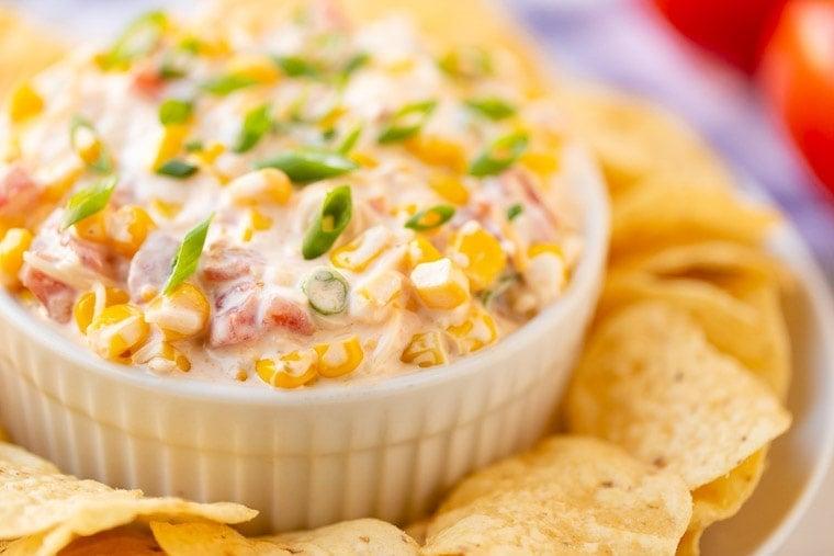 Corn Dip Recipe in white bowl