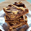 Peanut Butter & Chocolate Reese's Cookie Bars ~ Soft, chewy peanut butter & chocolate sugar cookie bar loaded with Reese's Cups and drizzled with Chocolate and Peanut Butter!