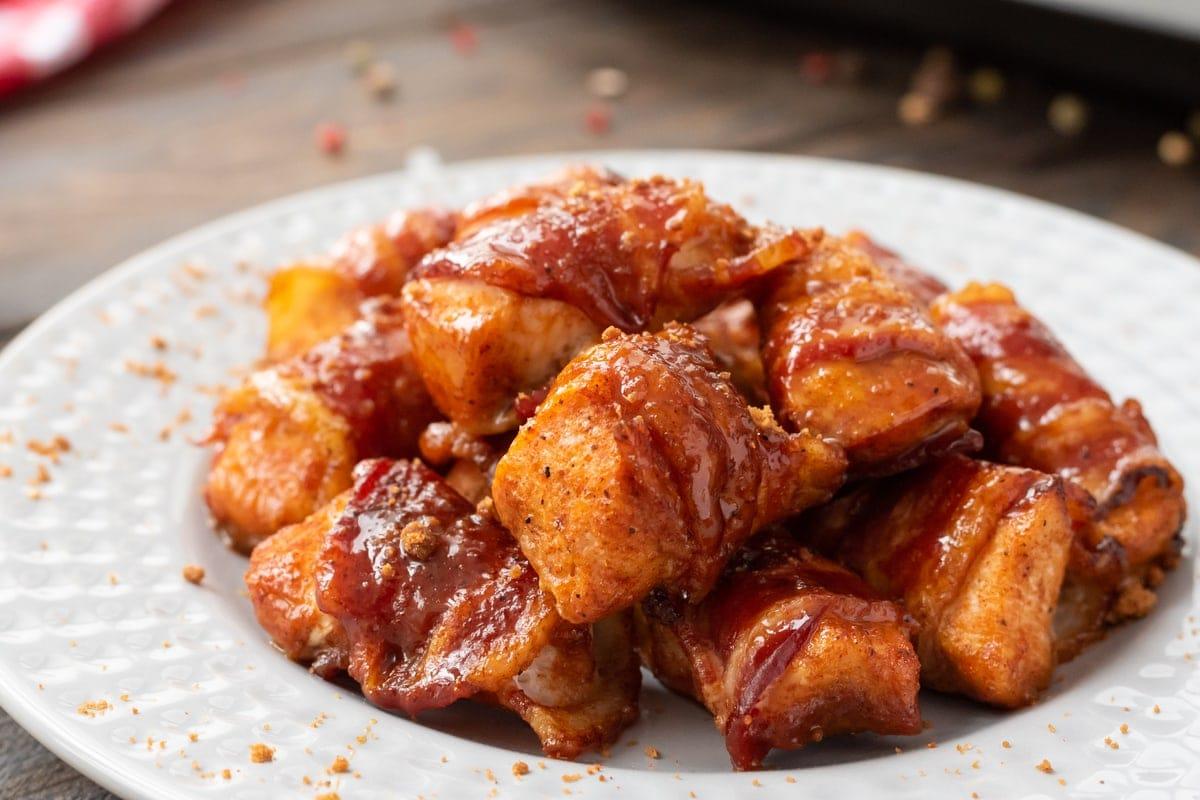 Kickin Bacon Wrapped Chicken Bites Julie S Eats Amp Treats