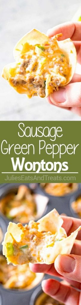 Collage with top image of a hand holding a sausage green pepper wonton, middle green banner with white text reading sausage green pepper wontons, and bottom image of a hand holding a wonton with a bite out of it over a pan of wontons