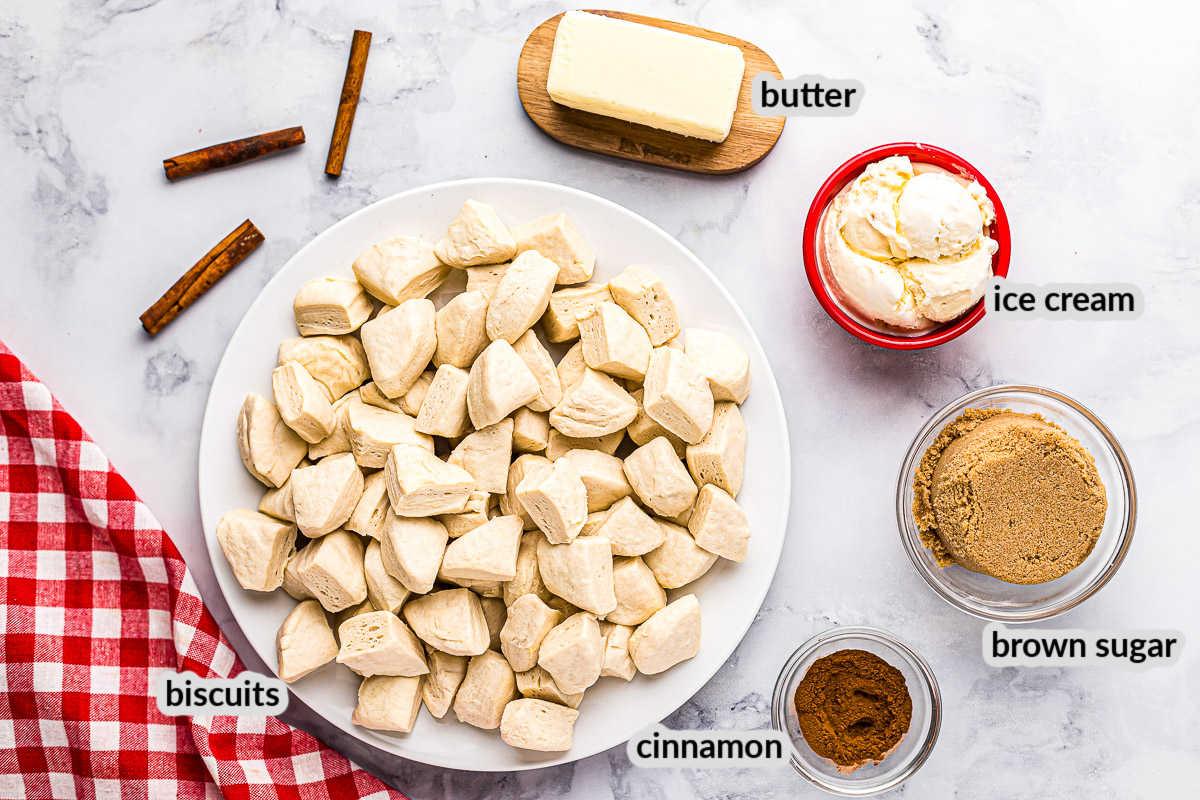 Caramel Pull Aparts Ingredients Overhead Image