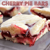 Cherry Pie Bars ~ Soft, flake crust flavored with Almond and stuffed with Cherry Pie Filling! Easier than pie but just as yummy!