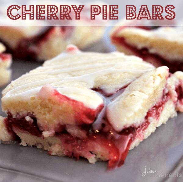 Cherry Pies Bars ~ Soft, flake crust flavored with Almond and stuffed with Cherry Pie Filling! Easier than pie but just as yummy!