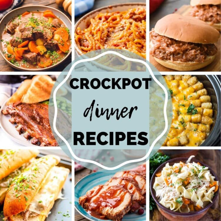 """Eight images of dinner foods including, tatertot hotdish, sandwiches, pork, stew, pasta, and more with the text """"crockpot dinner recipes"""" in the center"""