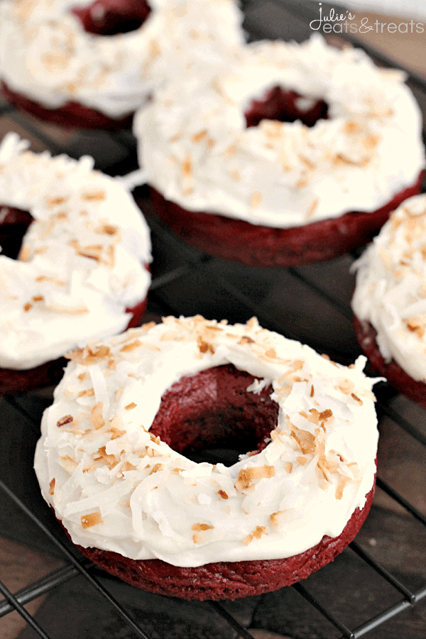 """Baked"" Toasted Coconut Red Velvet Donuts ~ Easy donuts made with a Red Velvet Cake Mix and topped with Cream Cheese Frosting and Toasted Coconut!"