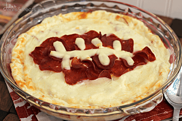 "Football Pepperoni Pizza Dip ~ Super fun cheesy dip stuffed with pepperoni for the ""big"" game!"
