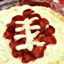 """Football Pepperoni Pizza Dip ~ Super fun cheesy dip stuffed with pepperoni for the """"big"""" game!"""