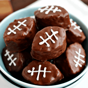 Blue bowl of football scotcheroo bars