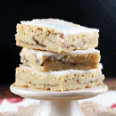 Gooey Snickerdoodle Bars ~ Soft, gooey bars stuffed with cinnamon and sugar and drizzled with icing!