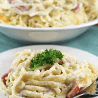 Linguine Casserole ~ Stuffed with Ham, Swiss Cheese and Linguine! The ultimate comfort food!