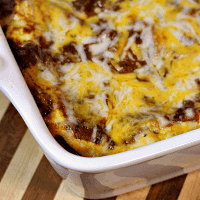 Mexican Lasagna ~ Noodles piled high with zesty taco meat and cheese!