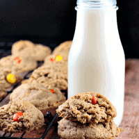 Monster Cookies ~ Soft, chewy cookies loaded with Peanut Butter Chips and Reese's Pieces!