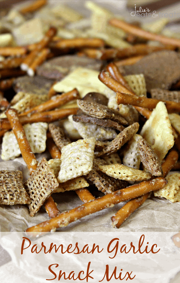 Parmesan Garlic Snack Mix ~ Loaded with Chex, Pretzels and Rye Chips!