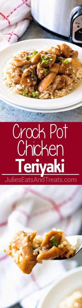 Collage with top image of chicken and rice on a white plate middle red banner with white text reading crock pot chicken teriyaki, and bottom image of a bite of chicken on a fork