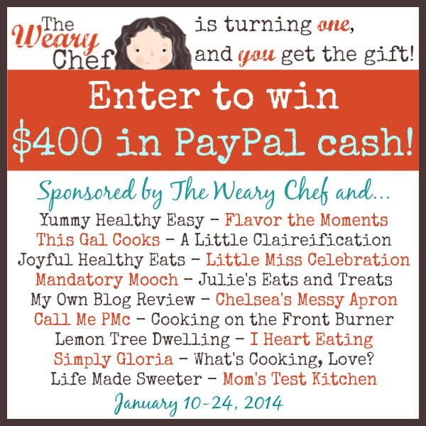 Enter to win $400 in PayPal Cash to Celebrate The Weary Chef's Anniversary!