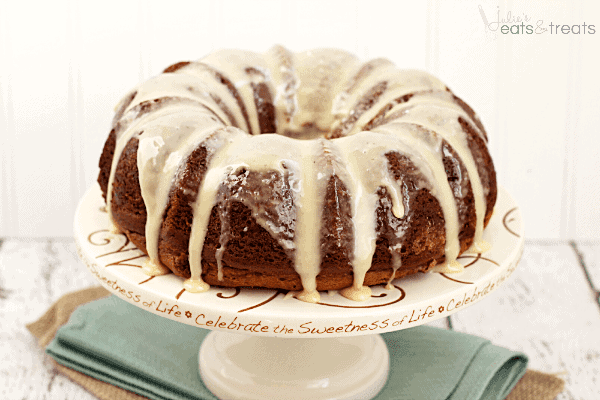 Salted Butterscotch Coffee Cake ~ Moist Butterscotch Cake with a Cinnamon Swirl and Salted Butterscotch Glaze!