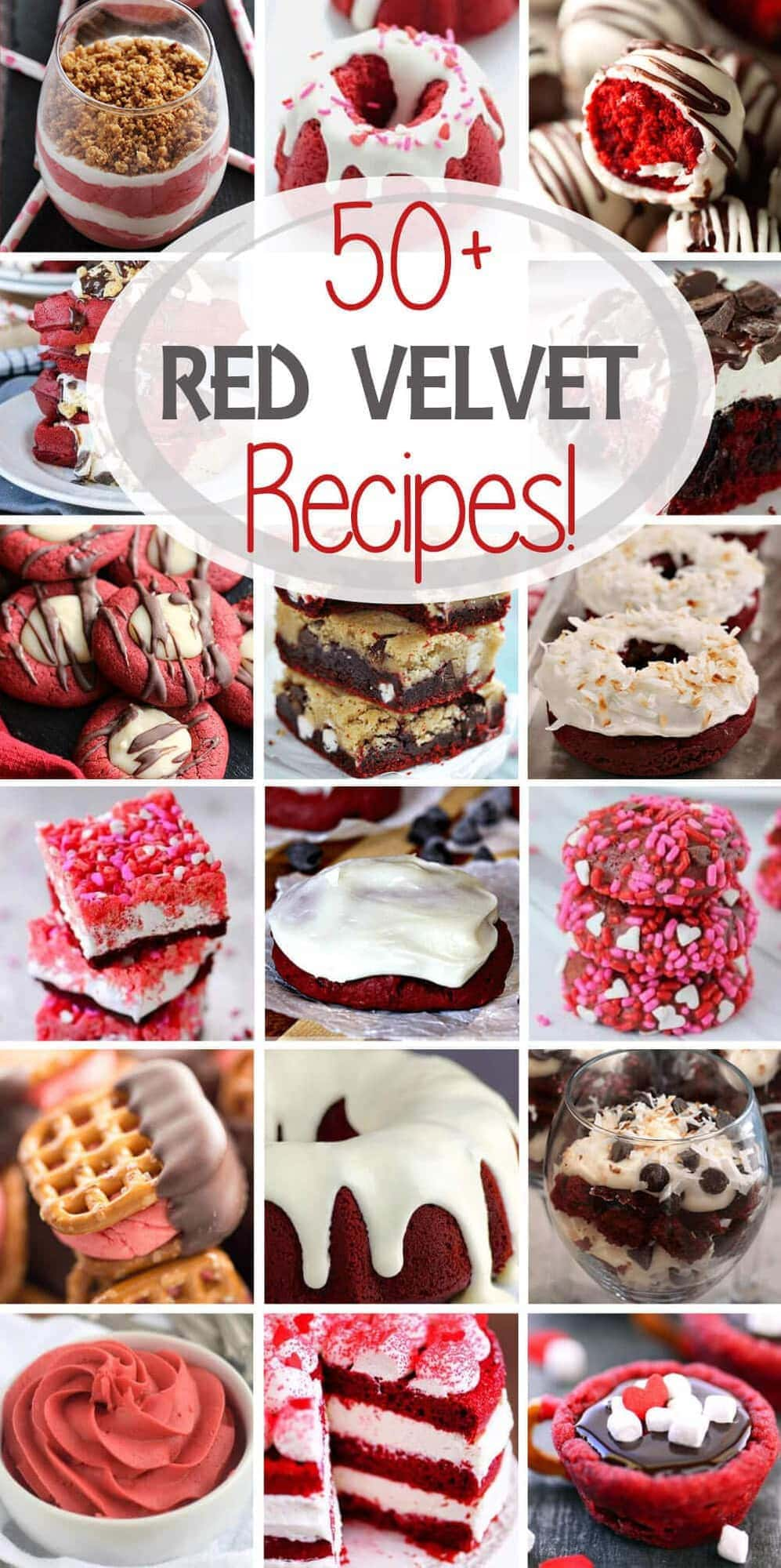 50 of the Best Red Velvet Recipes in one place from all of your Favorite Bloggers! Everything from cupcakes and donuts to milkshakes and pretzels!