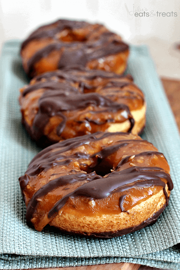Baked Samoa Donuts ~ Buttery Donuts Dipped in Chocolate and Covered in Caramel and Coconut!