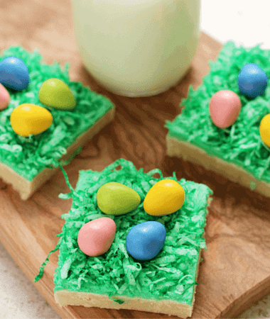 "Easter Egg Hunt Sugar Cookie Bars ~ Soft, Chewy Sugar Cookie Bars topped with Green Coconut ""Grass"" and Candy Easter Eggs!"