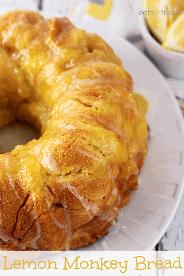 Lemon Monkey Bread ~ Flaky Biscuits Stuffed with Lemon Pie Filling and Drizzled in a Lemon Glaze