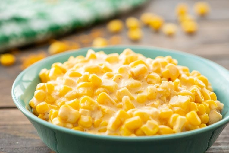 Creamed Corn in blue bowl