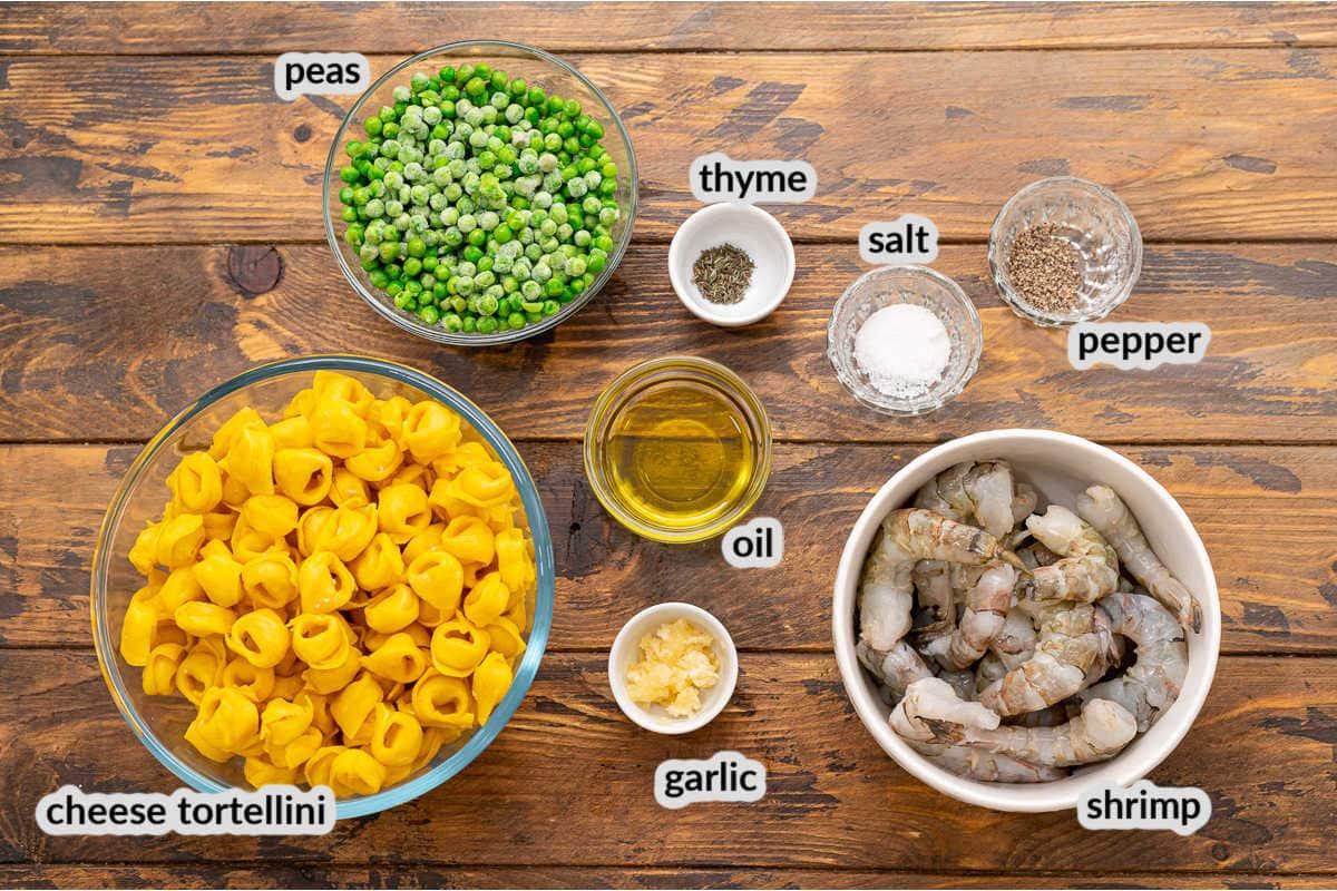 Overhead image of Garlic Shrimp Tortellini Ingredients in bowls