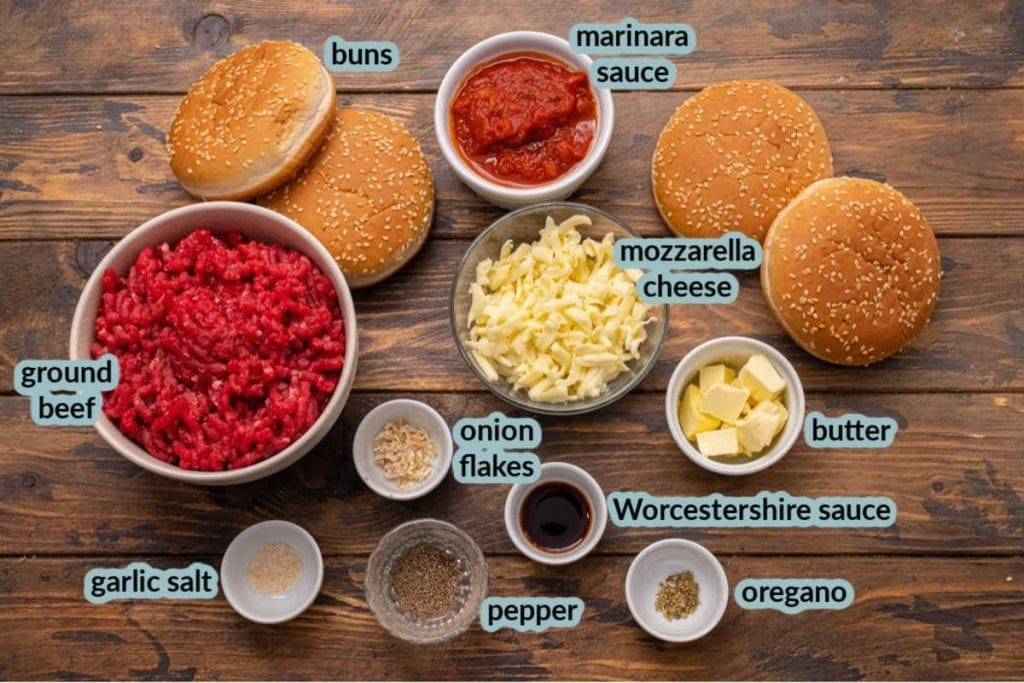 Ingredients for Italian Burgers including ground beef buns marinara sauce cheese butter and seasonings