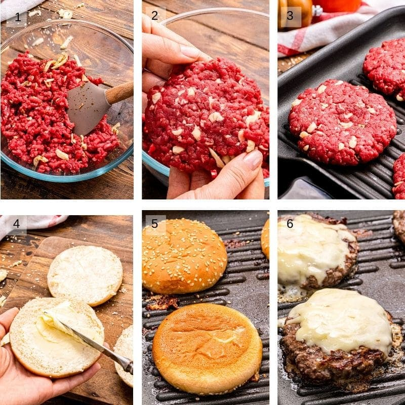Collage of six images showing making burger patties grilling burgers buttering buns