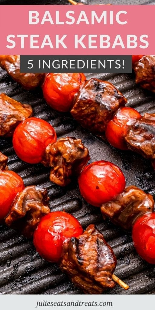 Balsamic Steak Kebabs on a grill pan