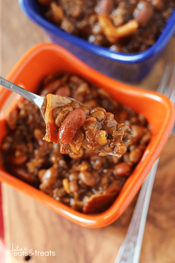 Crock Pot Hickory Smoked Baked Beans ~ Smokey Baked Beans Loaded with Bacon and Hamburger then Slow Cooked!