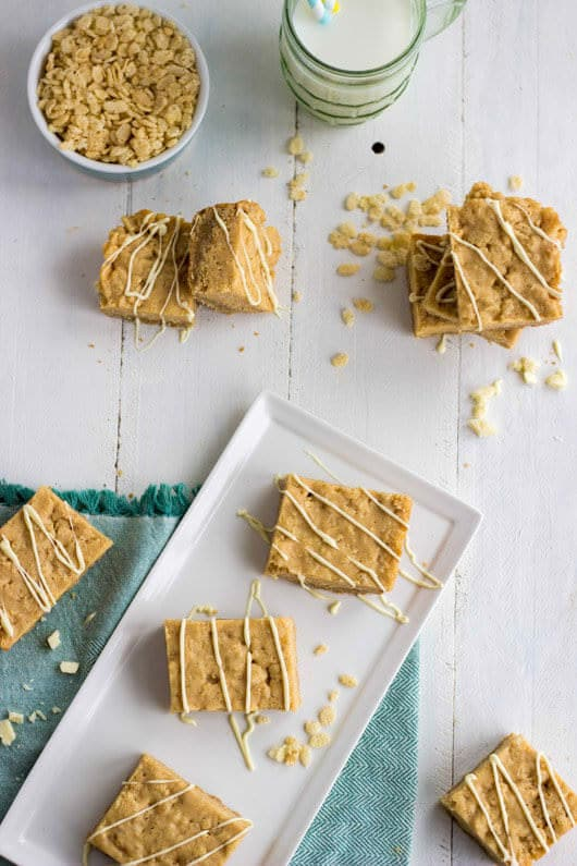 Chocolate Almond Rice Krispie Treat Bars with Sugar Cookie Crust - Julie's Eats and Treats