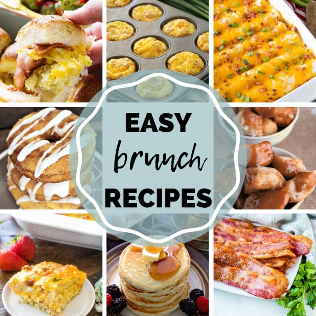 Square collage of photos of brunch recipes with text in middle of image