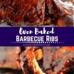 Collage with top image of racks of ribs on a plate, middle banner with white text reading oven baked barbecue ribs, and bottom image of a rib on a fork