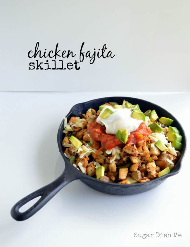 Chicken Fajita Skillet ~ A deliciously hearty breakfast skillet with roasted home fry potatoes, chicken, onions, peppers, salsa, and sour cream!