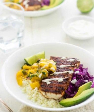 Cauliflower Rice Fish Taco Bowls