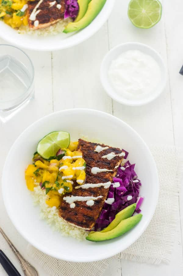 Cauliflower Rice Fish Taco Bowls - Julies Eats and Treats | #glutenfree #recipe #taco