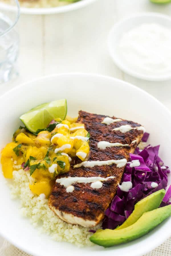 Cauliflower Rice Fish Taco Bowls - Julies Eats and Treats | #glutenfree #recipe #taco