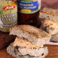 Cheesy Garlic Artichoke Grilled Chicken Sandwiches ~ Grilled Chicken topped with Cheesy Garlic and Roasted Bell Pepper Topping Between Focaccia!