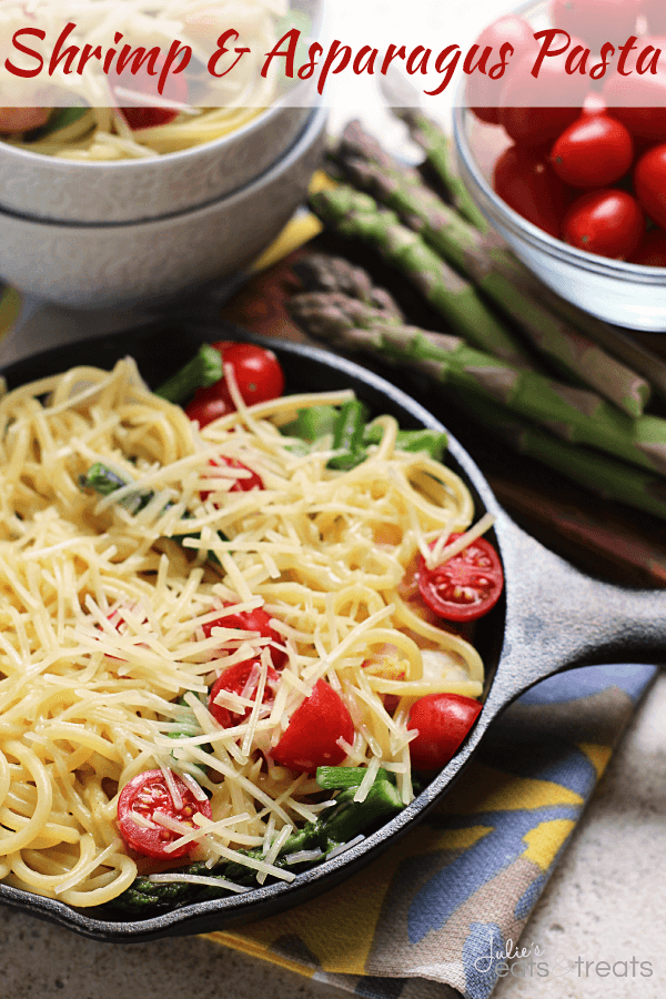 Shrimp Asparagus Pasta Perfect Summertime Pasta Dish Loaded With Cherry Tomatoes Asparagus