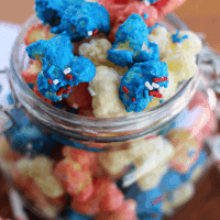 Patriotic Puff Corn ~ Light, Salty Puff Corn Drizzled in Sweet Vanilla Candy Coating! Melt in Your Mouth Deliciousness!