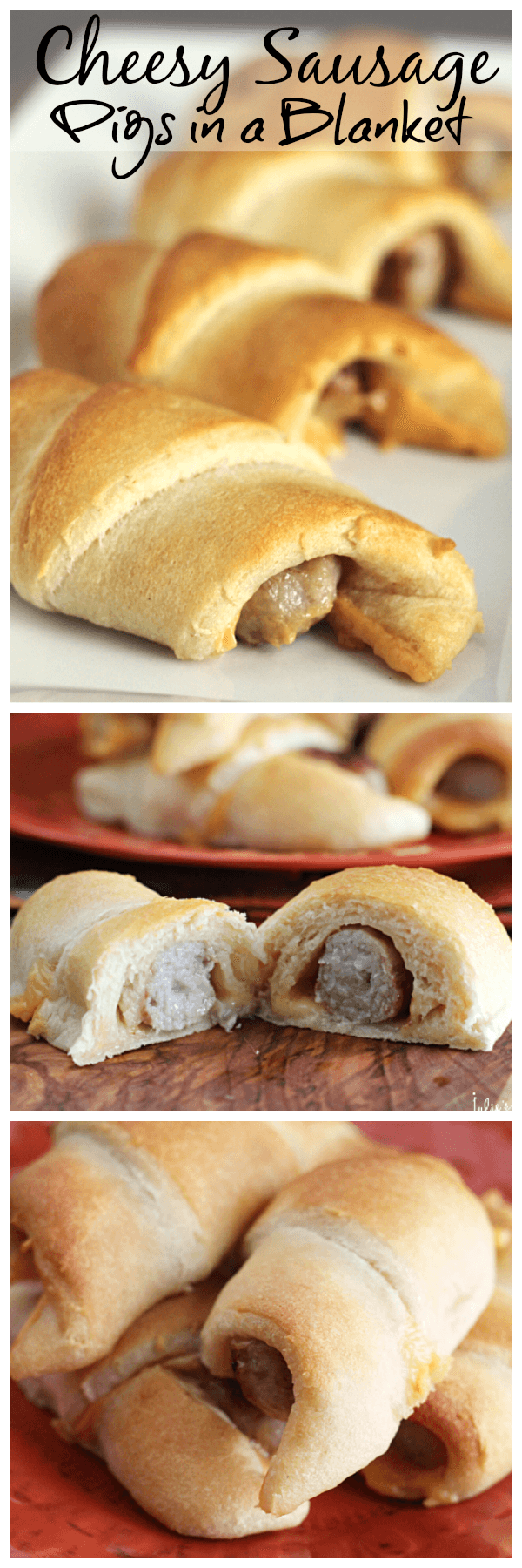 Cheesy Sausage Pigs in a Blanket ~ Flaky Crescent Rolls Stuffed with Sausage and Cheese! Quick, Easy and Perfect for Breakfast!