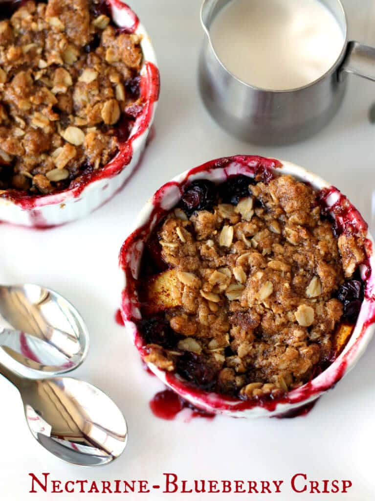 Nectarine Blueberry Crisp Recipe ~ Warm, delicious, easy and is just right for breakfast or dessert!