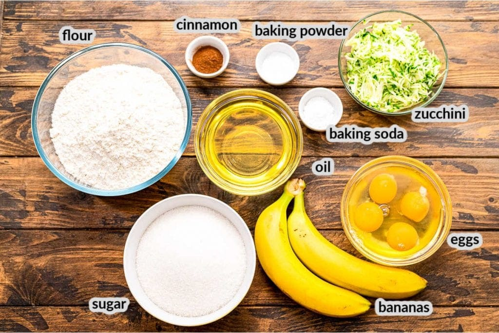 Overhead image for ingredients to make Banana Zucchini Bread