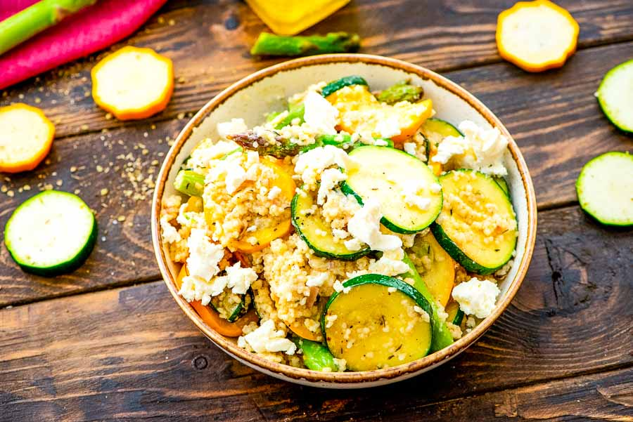 Couscous Salad with vegetables in bowl