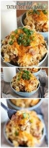 Crock Pot Tater Tot Egg Bake ~ Overnight Crock Pot Egg Bake Stuffed with Tater Tots, Canadian Bacon, Eggs & Cheese!