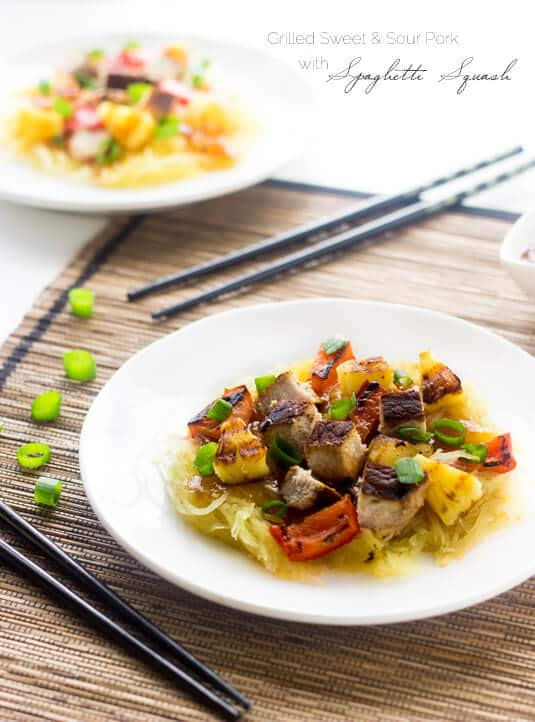 Healthy Sweet and Sour Pork ~ This healthy sweet and sour pork uses spaghetti squash in place of noodles, and is grilled not fried! It's quick, easy and delicious!