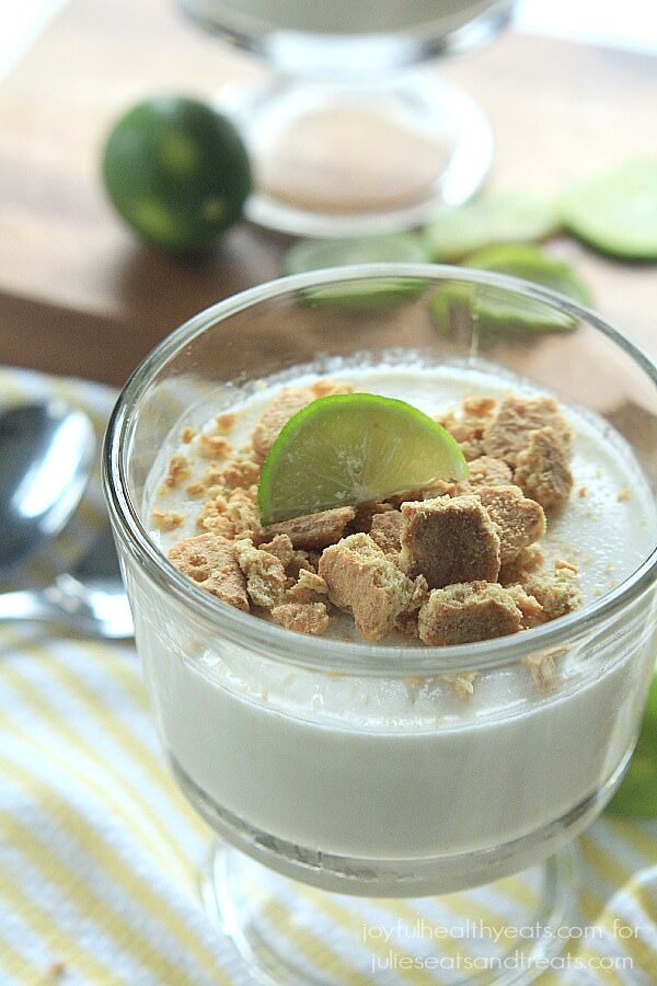Key Lime Panna Cotta ~ Dessert never tasted so good with this guilt free treat made with coconut milk and finished off with crunchy Graham Crackers.